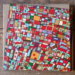 """""""Série RT n°15a"""", septembre 2016, acrylique sur bois (chute de parquet massif), 16 x 17 cm, DISPONIBLE"""