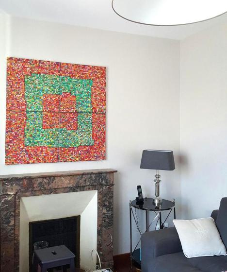 """""""Série RT n°7"""", été 2015, acrylique sur toile, 4 toiles de 50 x 50 cm, VENDU mais DISPONIBLE SUR COMMANDE (non à l'identique !)"""