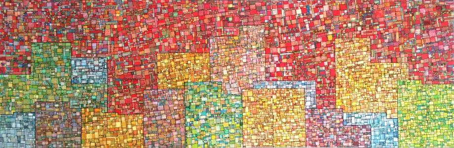 """DISPO """"Série RT n°5"""", 2012, acrylique sur toile, 50 x 150 cm"""