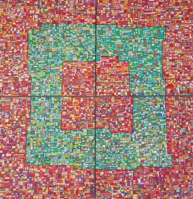 """VENDU """"Série RT n°7"""", été 2015, acrylique sur toile, 4 toiles de 50 x 50 cm"""