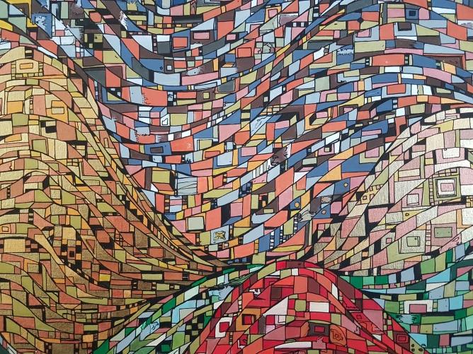 """""""Série RT n°27"""", mai 2017, technique mixte et feuilles d'or sur toile, 100 x 81 cm, DISPONIBLE"""