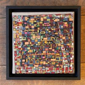 """""""Série RT n°19"""", Janvier 2017, acrylique sur toile, 20 x 20 cm encadrement en caisse américaine noire, DISPONIBLE"""