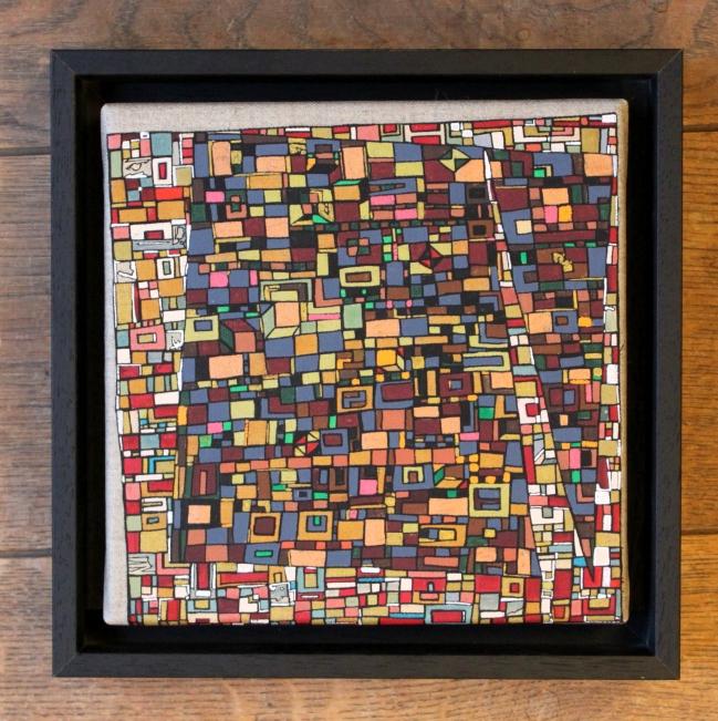"""VENDU """"Série RT n°19"""", Janvier 2017, acrylique sur toile, 20 x 20 cm encadrement en caisse américaine noire,"""