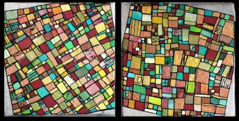 """VENDU """"Série RT n°6"""", 2011, diptyque, acrylique sur toile, 2 toiles de 15 x 15 cm"""