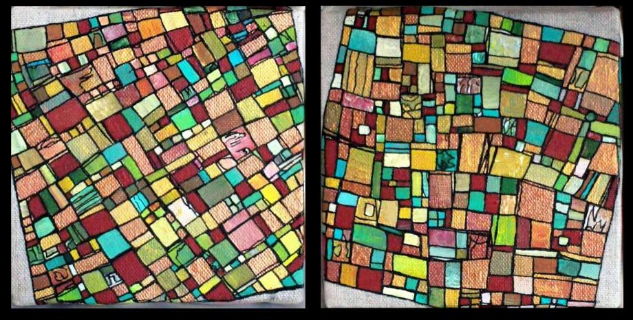 """""""Série RT n°6"""", 2011, diptyque, acrylique sur toile, 2 toiles de 15 x 15 cm, VENDU mais DISPONIBLE SUR COMMANDE (non à l'identique !)"""