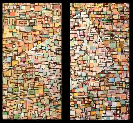"""""""Série RT n°3"""", fev 2010, diptyque, acrylique sur toile, 2 toiles de 40 x 20 cm"""