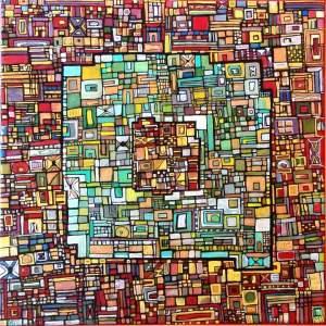 """VENDU """"Série RT n°2"""", 2009, acrylique sur toile, 30 x 30 cm"""
