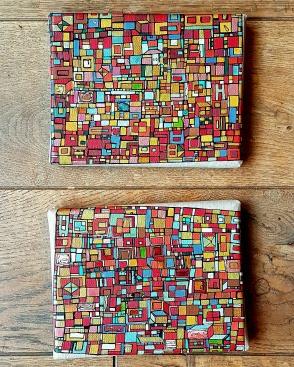 """VENDU """"Série RT n°20"""", fev 2017, diptyque, acrylique sur toile de lin, 2 toiles de 14 x 18 cm"""