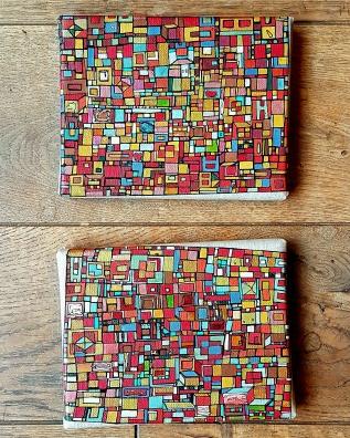 """""""Série RT n°20"""", fev 2017, diptyque, acrylique sur toile de lin, 2 toiles de 14 x 18 cm, VENDU mais DISPONIBLE SUR COMMANDE (non à l'identique !)"""