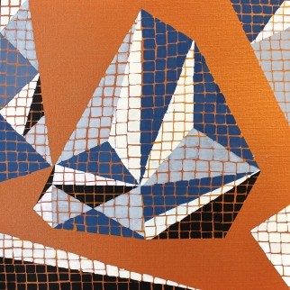 """""""Série inspiration australe, papier n°2"""", 2016, acrylique sur papier encadré noir, 20 x 20 cm, VENDU mais disponible sur commande"""
