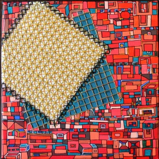 """""""Série Partage"""" n°1 - Broderie et acrylique sur toile - oct 2016 - 20 x 20 cm - DISPONIBLE"""