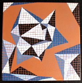 """DISPO """"Série inspiration australe n°5"""", 2016, acrylique sur toile peint cuivré, 30 x 30 cm"""