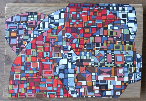 """""""Série RT n°24"""", mars 2017, acrylique sur bois (chute de parquet massif), 24 x 18 cm, DISPONIBLE"""