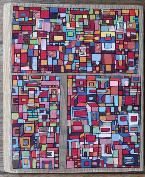 """""""Série RT n°22"""", mars 2017, acrylique sur bois (chute de parquet massif), 20 x 17 cm, VENDU mais DISPONIBLE sur commande"""