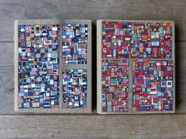 """VENDUS """"Série RT n°22 et 23"""", mars 2017, acrylique sur bois (chute de parquet massif), 2 x 20 x 17 cm"""