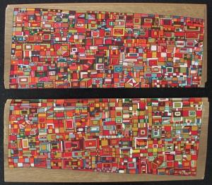 """VENDU """"Série RT n°26"""", mai 2017, acrylique sur bois (chute de parquet massif), 18 x 40 cm"""