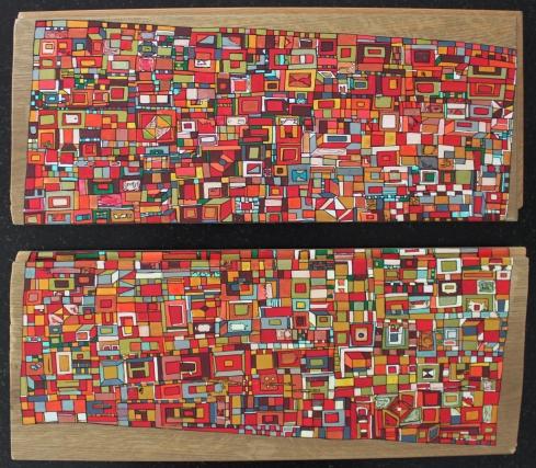 """""""Série RT n°26"""", mai 2017, acrylique sur bois (chute de parquet massif), 18 x 40 cm, DISPONIBLE"""