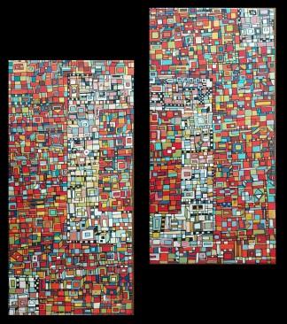 """VENDU """"Série RT n°25"""", avril 2017, diptyque, acrylique sur toile, 2 toiles de 40 x 20 cm"""