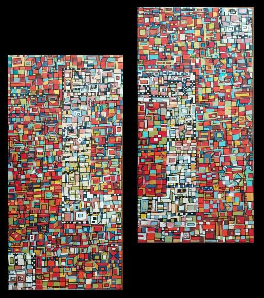 """""""Série RT n°25"""", avril 2017, diptyque, acrylique sur toile, 2 toiles de 40 x 20 cm, VENDU mais DISPONIBLE SUR COMMANDE (non à l'identique !)"""