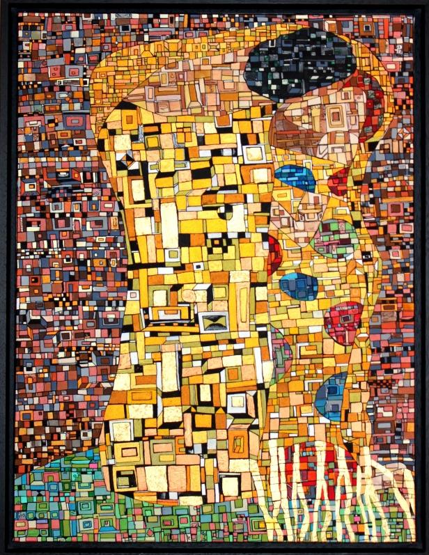 """DISPO """"Série RT Hommage à Klimt"""", février 2017, acrylique et feuille d'or sur toile, 60 x 50 cm"""