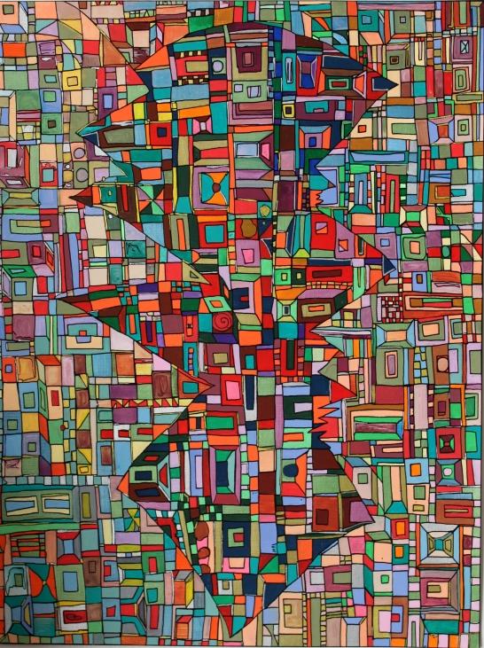 """""""Série RT papier n°3"""", avril 2016, acrylique sur papier (détail), 40 x 30 cm, DISPONIBLE !"""