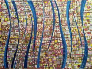"""VENDU """"Série Partage"""" papier n°2 - Broderie et acrylique sur papier toilé - juin 2016 - 30 x 40 cm"""