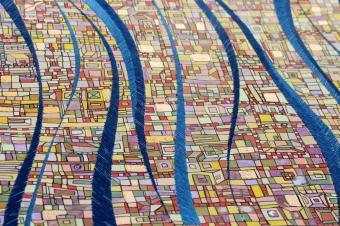 """""""Série Partage"""" papier n°2 - Broderie et acrylique sur papier toilé - juin 2016 - 30 x 40 cm - VENDU"""