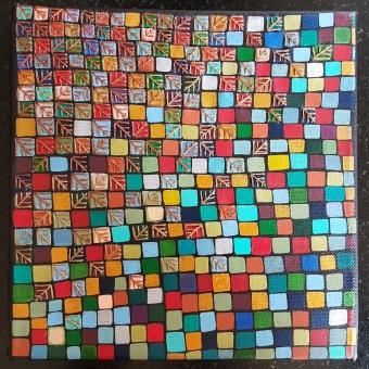 """""""Série Partage"""" n°2 - Broderie cuivre et or et acrylique sur toile - sept 2017 - 20 x 20 cm - DISPONIBLE"""