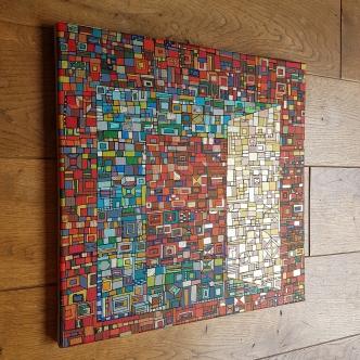 """""""Série RT n°28"""", sept 2017, technique mixte et dorure sur toile, 40 x 40 cm, DISPONIBLE"""