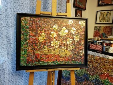 """""""Série RT n°30"""", déc 2017, technique mixte et dorure sur toile encadré caisse américaine noire, 46 x 65 cm, VENDU"""