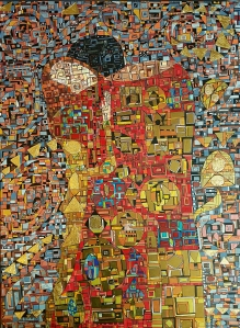 """""""Série RT Hommage à Klimt n°2"""", mars 2018, acrylique et feuille d'or sur toile, 72 x 43 cm, DISPONIBLE"""
