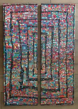 """""""Série RT n°31"""", 2018, acrylique sur toile, 2x 90 x 65 cm"""