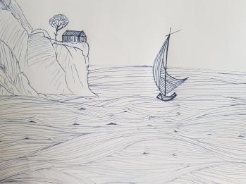 """Fresque """"vue sur mer"""" """"Tropicale"""""""