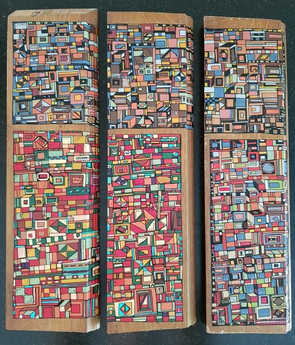 """""""Série RT n°33"""", sept 2018, acrylique sur bois (chute de parquet massif), 40x 40cm VENDU"""