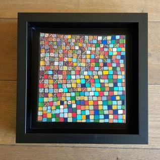 """""""Série Partage"""" n°2 - Broderie cuivre et or et acrylique sur toile - sept 2017 - 20 x 20 cm - dispo"""