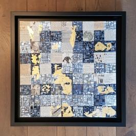 """""""Série RT n°34"""", 2016, acrylique, dorure à la feuille d'or sur toile, papier journal """"le Petit écho de la mode"""" années 1920/50, 50 x 50cm"""