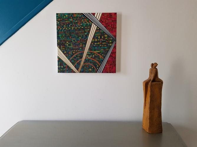 """""""Série RT n°37"""" - octobre 2019 - 30 x 30 cm - acrylique et dorure sur toile"""