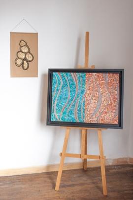 DISPO Série Partage n°4 - broderie noir, dorure et peinture sur tissu - 32 x 52 cm - nov 2019